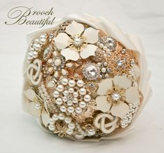 Ivory Golden Pearl Brooch Bouquet