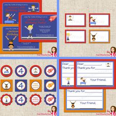 PRINTABLE Boy Gymnast  Label Tents. $5.00, via Etsy.