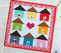 """Teeny house quilt by Ayumi at Pink Penguin.  The paper pieced blocks measure 1-5/8"""""""