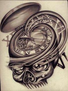 Черно-белый эскиз татухи в виде часов | Other