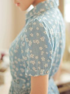 tiny blossom denim dress