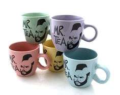 Mr. T Teacup Set of 5 in pastels