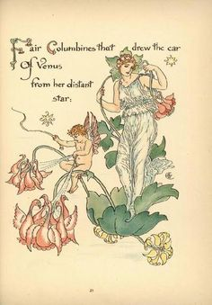 """""""'Fair Columbines that drew the car of Venus from her distant star.' Illustration from 'Flora's Feast' by Walter Crane ( ). Image and text Courtesy MFA Boston. Walter Crane, Art Nouveau, Columbine Flower, English Artists, Flower Fairies, Japanese Prints, Children's Book Illustration, Antique Art, Beautiful Paintings"""