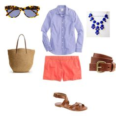 Blue and coral outfit. Adorable.