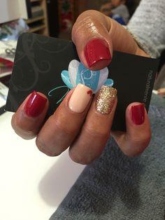 Acrylic nails, nails art, red nails