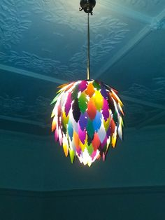 Plume - Handmade colored paper feather light shade - colourful lights