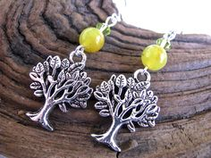 Nature Series:  Silver Tree of Life and Yellow Jade Long Dangly Earrings - pinned by pin4etsy.com