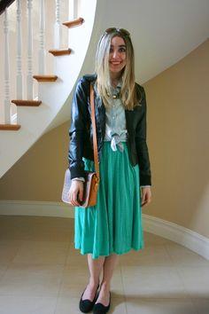 mint green polka dots, jean shirt, motorcycle jacket