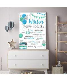Balony z girlandą niebieskie - metryczka roczkowa Baby Showers, Creative, Career, Furniture, Home Decor, Cuba, Homemade Home Decor, Carrera, Baby Sprinkle