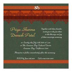 Red Damask Brocade Hindu wedding Custom Invite