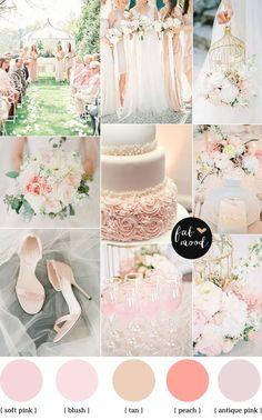 Blush pink garden wedding colour palette: