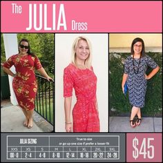 The JULIA DRESS is a form fitting, knee- length, knit dress with mid-length sleeves and a high neckline. Its simple silhouette makes the Julia dress a great canvas for layering and accessorizing. This dress is a staple for every season's wardrobe. It is feminine, flattering, and you may not ever want to take it off. Shop LuLaRoe with Tamara Feather at https://www.facebook.com/groups/703261596502999/