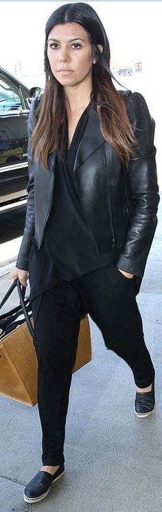 Kourtney Kardashian: Jacket – Valentino  Purse – Celine  Pants – Fifty  Shoes – Chanel  Shirt – Kardashian Kollection