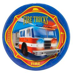 Fire Trucks Dessert Plates from BirthdayExpress.com
