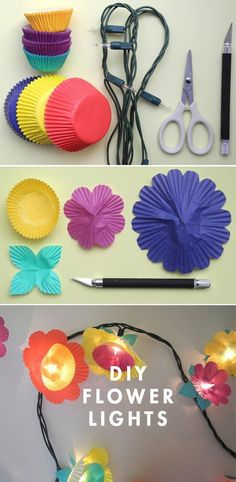 Flower String Lights: Use colored cupcake wrappers to dress up Christmas lights. It makes a stunning lighting idea in a teen girls bedroom!
