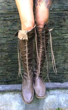 'Extra Virgin' Olive Leather Knee High Boots