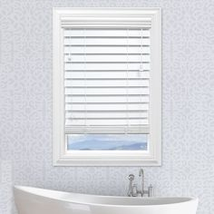 Custom Cut To Order Premium 2.5-inch Faux Wood Blinds - 72'' Length, White