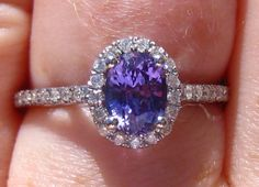 Purple Sapphire Engagement Ring, Untreated Ceylon Purple Sapphire in White Gold Diamond Halo Engagement Ring by JuliaBJewelry on Etsy https://www.etsy.com/listing/196561763/purple-sapphire-engagement-ring