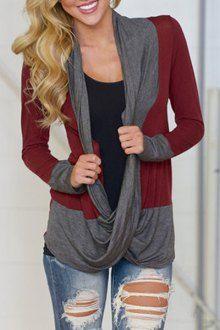 Long Sleeve Color Block Draped Blouse