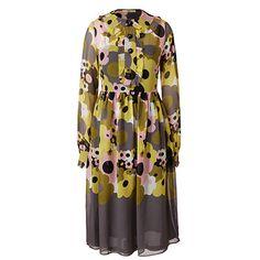 Orla Kiely | UK | clothing | Dresses | Flower Explosion Georgette Waisted Collar Dress (16SWGGT712) | olive