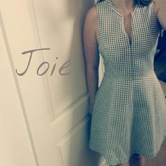 NWT - Joie polka dot dress Julie Ann style white dress with black polka dots. Super cute and flattering. There is makeup marks along the neckline (see last pics) but I think they would come out with drycleaning. Priced accordingly. Joie Dresses