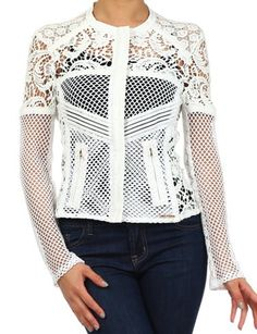 Frozen Lace Jacket: Features a brilliant white foundation for maximum pop, hand-worked crochet detailing to both sides, dual front zippers, and a snug silhouette to finish.