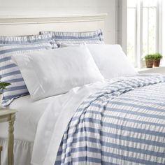 Orvis Seersucker Cotton Bedspread King 118 x 116 Blue White Stripe Coverlet NWT #Orvis