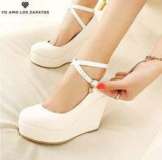 Buy White wedges shoes pumps high heels shoes for women wedges platform shoes heel white pumps wedges heels at Wish - Shopping Made Fun White Wedge Shoes, White High Heels, White Wedges, White Pumps, Wedge Heels, Shoes Heels Wedges, Platform High Heels, High Heel Pumps, Pump Shoes