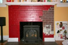 paint job ideas for brick fireplace Painted Fireplace Mantels, Painted Brick Fireplaces, Paint Fireplace, Old Fireplace, Fireplace Mirror, Fireplace Design, Fireplace Ideas, Red Bricks, Red Paint