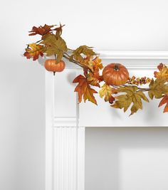 Fall For All Pumpkin Maple Leaves Oak Leaves & Berry Garland Orange & Green 66''