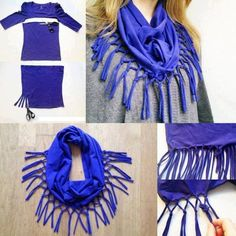 Repurpose old T-shirts into these designer style scarves.  You will love this easy DIY.: