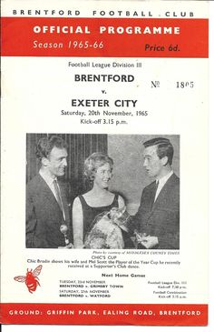 MATCH SCORE: 2-1 (BRENTFORD FC WINS) Brentford Fc, Exeter City, Match Score, Football Program, Division, Bees, Soccer, English, Vintage