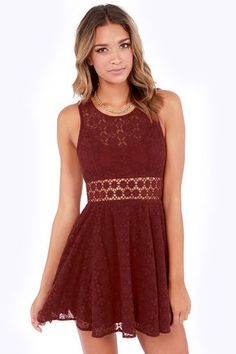 Afternoon in the Park Burgundy Lace Dress #Fall #fashion Get 7% Cash Back http://www.studentrate.com/itp/get-itp-student-deals/lulu-s-Student-Discount--/0