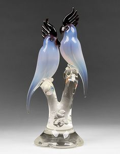 Murano Glass Cockatoo Sculpture by Renato Anatra, 1980