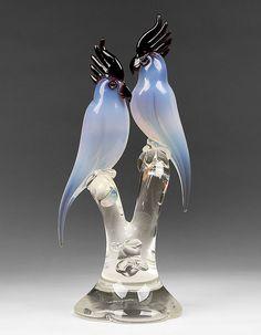 Murano Glass Cockatoo Sculpture by Renato Anatra, 1980