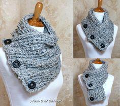 3 Button scarf Grey Tweed Crochet Scarf by My2ShayFromOurCorner
