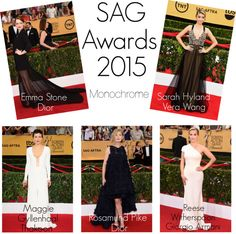 """""""SAG Awards 2015 - Monochrome"""" by zenahenderson ❤ liked on Polyvore"""