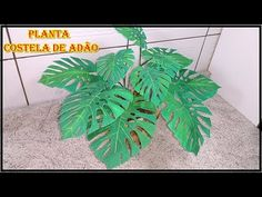 Como hacer la planta costilla de Adán  YouTube Cement Crafts, Diy Flowers, Greenery, Garland, Vines, Plant Leaves, Cactus, Projects To Try, Paper Crafts
