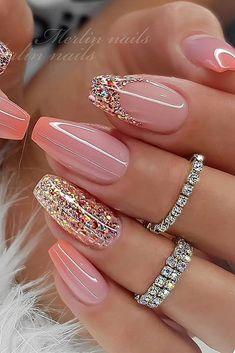 Classy Nails, Fancy Nails, Stylish Nails, Pink Nails, Cute Nails, Pretty Nails, Glitter Nails, Glitter Glue, Cute Acrylic Nail Designs