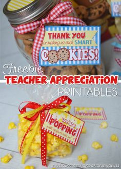 Tons of DARLING Teacher Appreciation Printables... smart cookie, popping with appreciation, subway art, classroom rules, nugget wrappers, lip balm labels, tictac labels, gift bag etc. SOME ARE FREEBIES!  #mycomputerismycanvas