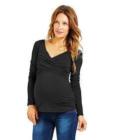 4c5c03e8d461 Another great find on #zulily! Dark Blue Maternity Surplice Top  #zulilyfinds Maternity Tops