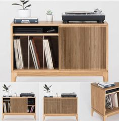 A thing of beauty and a very practical thing too if you like your vinyl. This is the retro record player stand and storage by Mo Woodwork. Retro Record Player, Record Player Stand, Vintage Record Player Cabinet, Record Holder, Vinyl Record Storage, Lp Storage, Vinyl Record Cabinet, Vinyl Records, Record Player Furniture