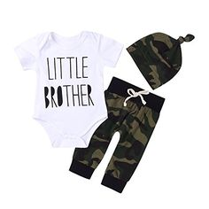 2018 Newborn Baby Boys' Gift Little Brother Camouflage Green Romper T-Shirt Long Pants And Hat Outfits Baby Clothes Set Newborn Baby Boy Gifts, Baby Boys, Baby Gifts, Toddler Outfits, Baby Boy Outfits, Children Outfits, Really Cute Outfits, Toddler Leggings, Thing 1