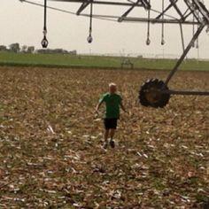 Running through the sprinkler farmstyle!
