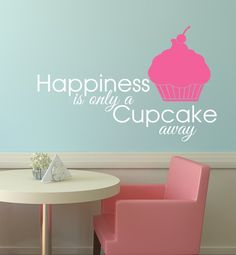 Happiness is Only a Cupcake Away  Cute bakery by WallAffection, £9.00