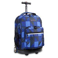 Girls Blue Navy Plaid Checkered Pattern Rolling Backpack Geometric Block Suitcase Kids School Bag Duffel Wheels Wheeling Luggage Lightweight