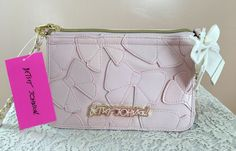 Betsey Johnson Spring Pastel Pink Bows Purse Clutch Cross-body Easter Wedding #BetsyJohnson #MessengerCrossBody