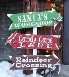 Winter Directional Sign: Santa's Workshop, Candy Cane Lane & Reindeer Crossing