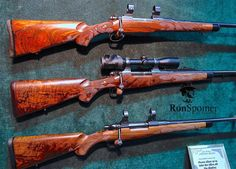 Another reason to attend Safari Club Intel. Convention. Custom rifles like these from Idaho's Mountain Riflery. Can you say walnut? #ronspomeroutdoors #rifle #gunstock #walnut #sci #customguns #boltaction  #gun #