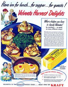 1951 Velveeta Cheese ad. #vintage #1940s #food #ads